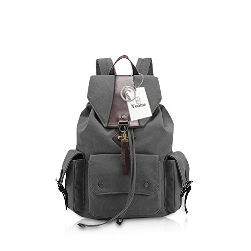 Backpack Backpack College Yoome Fashion Hiking School Women Canvas Men Camping Travling Backpack Bag Laptop Charcoal BAxUwEXU