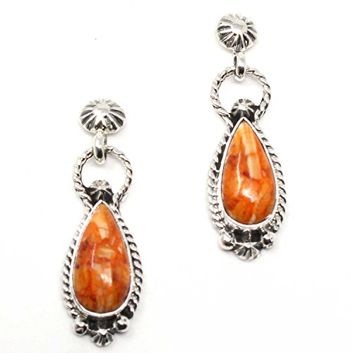 Navajo Sterling Silver And Orange Spiny Oyster Earrings 1 1/8 x 5/8