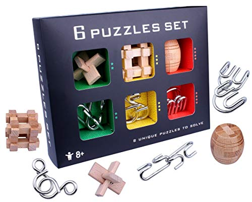 LLDDP Puzzle Exploration Toy Chinese Classical Intelligence Toys 3D Wooden Toys Brain Teasers Bends The Hole Lock Intelligence Buckle Children Adult Unlock Luban Ball (6 Pieces) Problem ()