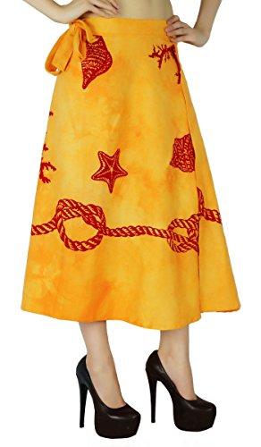 Algodón Sola Capa Falda Del Abrigo Más El Tamaño Del Tubo Largo Vestido De Pareo Amarillo y marrón