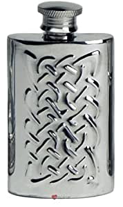2oz Pewter Spirit Liquor Hip Flask - Kidney Shape With Raised Celtic Ropework