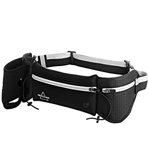 Hydration Running Belt By Mosslian.Water Resistant Waist Pack with Bottle Holder- Fits iPhone 6 , 7 Plus-Top Running Gear for Hands Free Workout,For Running Hiking Cycling Travelling(Black&Grey)