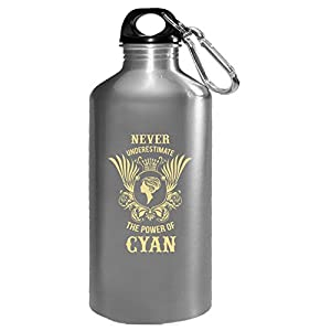 Never Underestimate The Power Of Cyan - Water Bottle