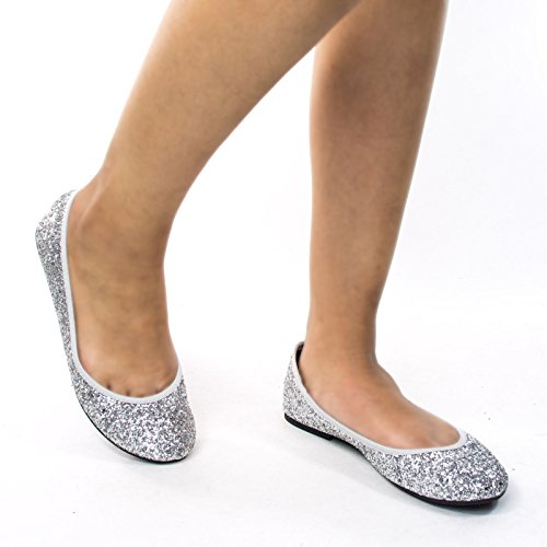 Glitter Metallic Round Toe Ballet Flats Womens Fashion Ballerina