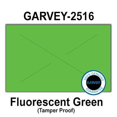 160,000 GENUINE GARVEY 2516 Fluorescent Green General Purpose Labels: full case - 20 ink rollers - tamper proof security -