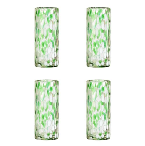 Amici Home, 7MCR815S4R, Confetti Collection Tom Collins Drinking Glass, Handmade Artisanal Mexican Drinkware, Recycled Glass, Dishwasher Safe, Set of 4, 12 Ounces