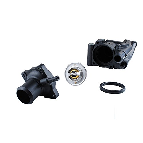 Podoy 902-201 YS4Z-8592-BD Thermostat Housing Water Outlet Coolant for 2000-2004 FORD Mazda FOCUS 2.0L - Replace F8RZ-8575-CA W505976-S303 W700319-S300 XS4Z-8592-AC