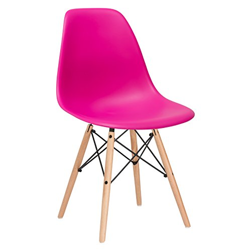 Poly and Bark Modern Mid-Century Side Chair with Natural Wood Legs for Kitchen, Living Room and Dining Room, Fuchsia
