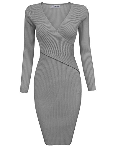Tom's Ware Womens Stylish Surplice Wrap Bodycon Knit Midi Dress - Most Stylish Dresses
