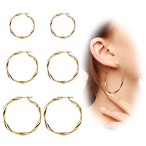 ted Hoop Earrings Textured Large Circle Earrings Spiral Earrings Hoops Set for Women Girl Gold ()