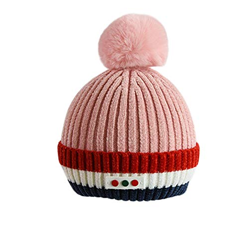 Fheaven (TM) Kids Baby Girl Boy Hairy Ball Warm Winter Fur Ball Knitted Wool Hemming Hat (Pink) -