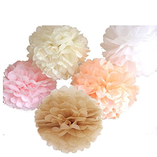 15 Piece Mixed 10#039#039 12#039#039 14#039#039 Tissue Paper Pom Poms Flower Wedding Party Baby Girl Room Nursery Decoration