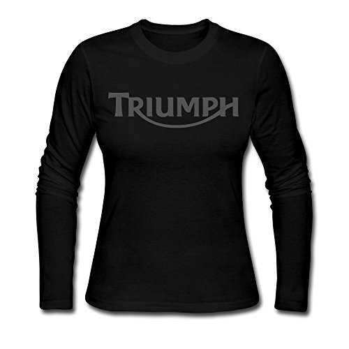 Women's Triumph Motorcycle Logo Old Emblem 100% Cotton Long Sleeve Tee Shirt Black