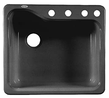 Superbe American Standard 7172.804.178 Silhouette 25 Inch Americas Single Bowl  Four Hole Kitchen Sink, Black     Amazon.com