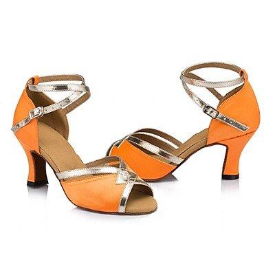 XIAMUO Nicht anpassbare Damen Tanzschuhe Latein Wildleder/Leder Cuban Heel Lila/Orange, Violett, US 8 / EU 39/UK6/CN 39