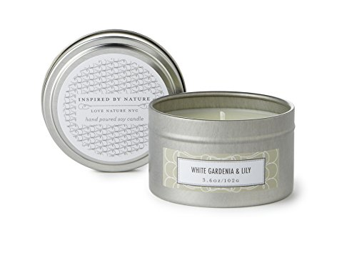 - LOVE NATURE NYC Natural Soy Candle Tin, Gardenia and Lily Scented, Clean Burning Non-Toxic, Floral Fragrance Notes of White Gardenia and Exotic Lily, 25-30 Hours