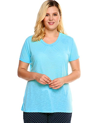 Pajama Top Size Plus (Ekouaer Women's Plus Size V-Neck Short Sleeve Breathable Pajama Tops Shirred Leisure Wear Tops,Sky Blue Azure,XXXX-Large)