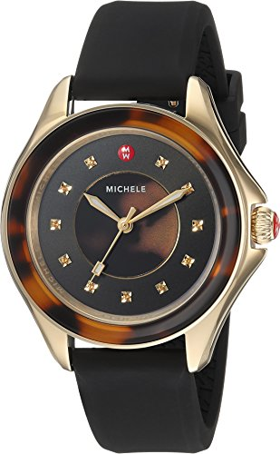 MICHELE Women's 'Cape' Quartz Stainless Steel and Silicone Casual Watch, Color:Brown (Model: MWW27A000027)