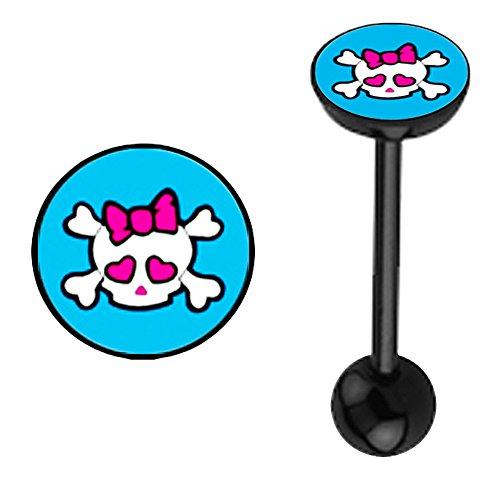 Blue Girly pink bow Skull Logo flat top Black Bioflex plastic flexible Barbell Tongue Ring piercing Jewelry bar - 14g