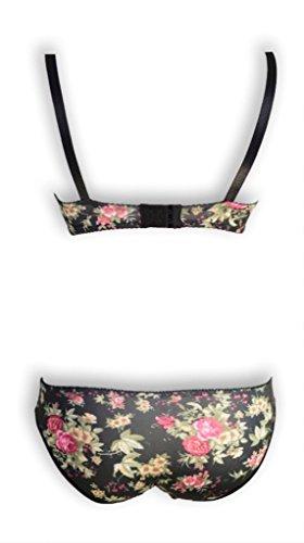 de D bragas negros motivos sombreros sujetador Ailuona y Set florales con g1pwxT