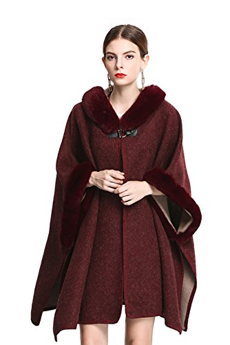 Shineflow Women's Trim Hood Poncho Faux Rabbit Fur Cape Wrap Shawl Woolen Coat ,Burgundy,Large
