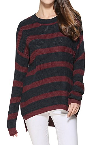Women Striped Loose Sweatershirts Long Sleeve Casual Round Neck Knit Sweater Red & Black S