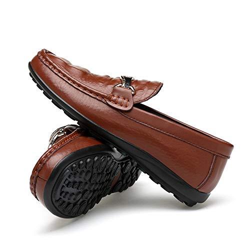 de Wave Transpirable de Texure cocodrilo Hombre Mocasines Mocasines Marrón Piel de tacón conducción de Suela Plano Zapatos CqtF0w