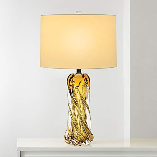 - Contemporary Amber Glass Lamp,25.5