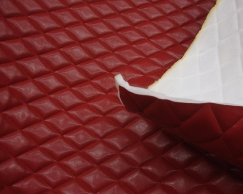 (LUVFABRICS Red Faux Leather Quilted Vinyl Fabric with 3/8