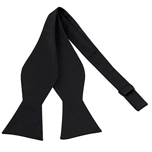 100% Silk Mens Bowtie Black Bow Ties for Men Self Tie Tuxedo Bow Tie by John William ()