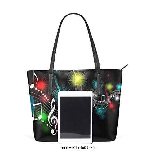 COOSUN Music Notes PU Leder Schultertasche Handtasche und Handtaschen Tasche für Frauen