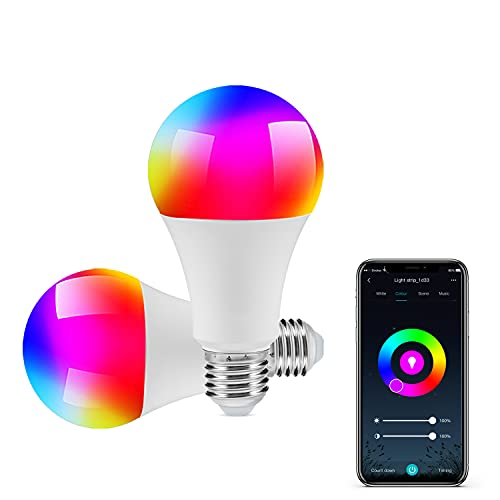 DoHome Smart Light Bulbs WiFi LED Light Bulb Color Changing Dimmable Smart Bulb Compatible with Alexa and Google Assistant A19 E26 Multicolor Smart Bulbs No Hub Required Remote Control 2 Pack