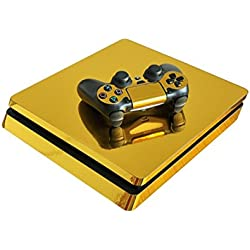 Chickwin PS4 Slim Vinyl Skin Full Body Cover Sticker Decal For Sony Playstation 4 Slim Console & 2 Dualshock Controller Skins (Gold Glossy)