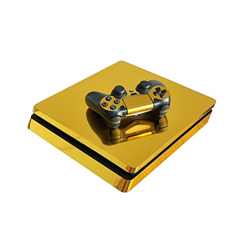 Chickwin PS4 Slim Vinyl Skin Full Body Cover Sticker Decal For Sony Playstation 4 Slim Console & 2 Dualshock Controller Skins (Gold - Jack Wills Voucher Uk