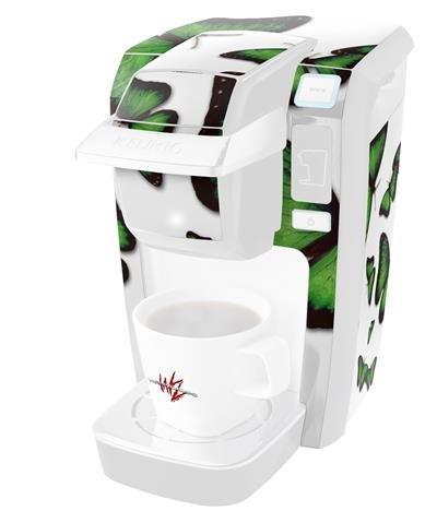 Butterfliesグリーン – デカールスタイルビニールスキンKeurig k10 / k15 Mini Plusコーヒーメーカー( Keurigに含まれません   B0181DEJFO
