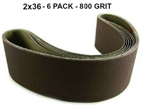 2x36 - 800 Grit 6 Pack - Premium Silicon Carbide Knife Sharpening Belts Made in USA