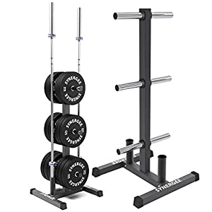 Synergee Olympic Weight Plate Tree Rack & Barbell Holder – Vertical Weight Rack for Gym Storage Home, Garage…
