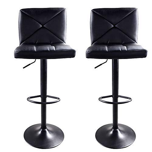 MAREEYA SHOP PU Leather Modern Adjustable Swivel Hydraulic Chair Bar Stools Set of 2 Black