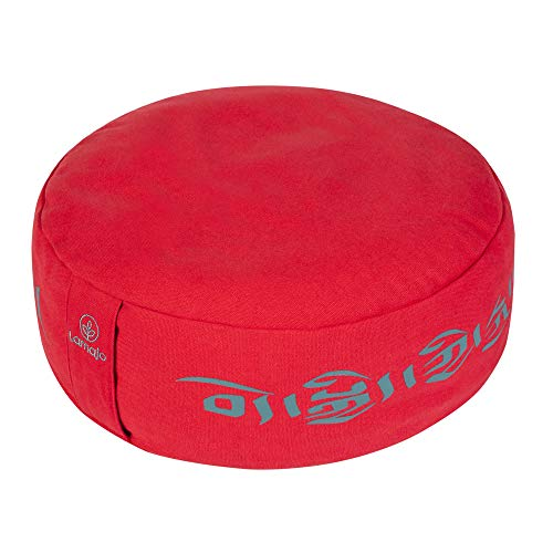 """Lamajo Large Round Meditation Cushion 14"""" Extra-Soft Adjustable Red Seat Cushion and Supportive Buckwheat Filled Yoga Pillow for Added Comfort, Yoga Block - Unique Tibetan Script Design"""