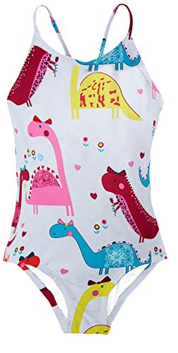 Girls Swimsuits Funny White Dinosaur Animal Print One Piece Bathing Suits Beach Sport Bandage Strap Cross Back Swimwear for Toddler Little Kids,White Dinosaur Animal,9-10 Years]()