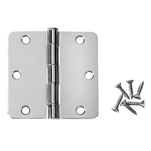 Cosmas Polished Chrome Door Hinge 3.5'' Inch x 3.5'' Inch with 1/4'' Inch Radius Corners