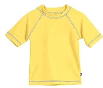 Big Boys' Solid Rashguard Swimming Tee, S/S Yellow, 7