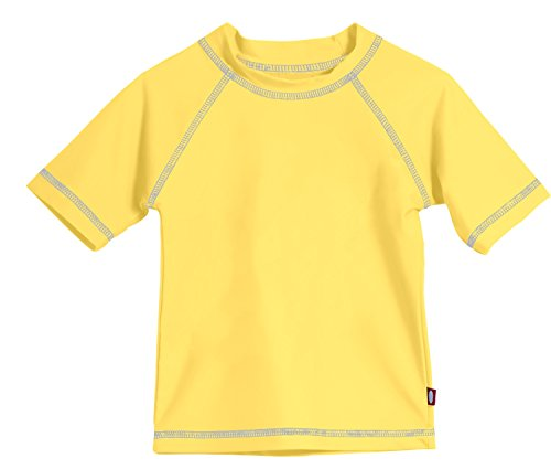 City Threads Baby Boys' and Girls' Solid Rashguard Swimming Tee Shirt Rash Guard SPF Sun Protection For Summer Beach Pool and Play, S/S Yellow, 12-18 -