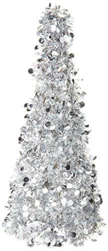 (Large Silver Tinsel Christmas Tree Table Centerpiece | Party Decoration | 6 Ct.)