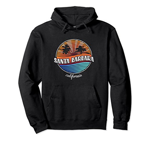 Unisex Retro Santa Barbara California Hoodie - Vintage 80s Shirt 2XL Black ()