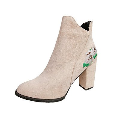 Booties US8 Boots Fashion Casual Boots Fall Nubuck Shoes Ankle Leather Chunky UK6 CN39 Heel Comfort Zipper Pointed Dress Toe Spring EU39 For Women'S Boots RTRY 1qAx66