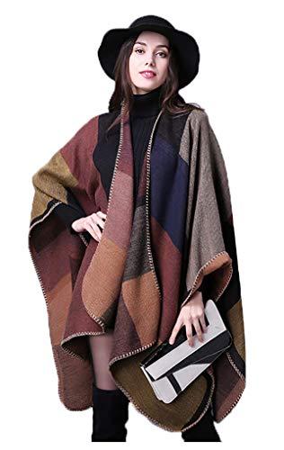 Epsion Women's Color Block Shawl Wrap Plus Size Cardigan Poncho Cape Open Front Long Winter Sweater Coat Khaki