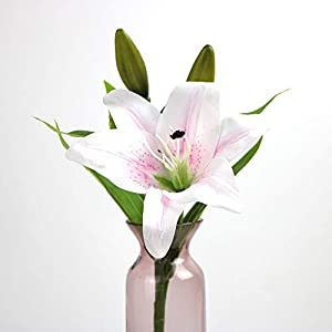 7 Pcs Artificial Lily Flowers Artificial Lillies Flowers for Home Wedding Bouquets Home Hotel Party Decor Graves Arrangement 61