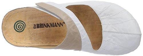 Dr. Brinkmann 700824 - Zuecos de piel mujer blanco - Weiß (Weiß/Terra)