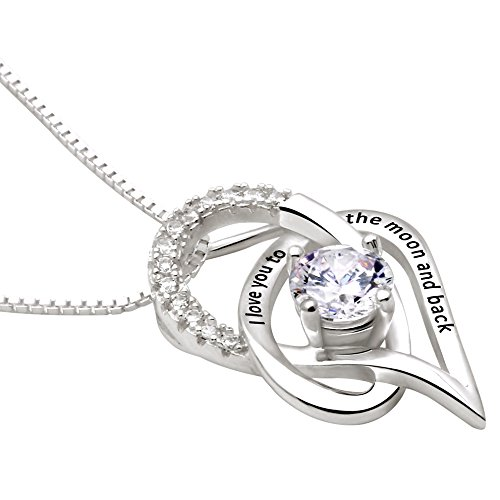 ALOV Jewelry Sterling Silver I Love You To The Moon and Back Love Heart Cubic Zirconia Pendant Necklace by ALOV (Image #1)
